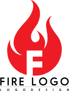 F Letter Flame Logo Vector