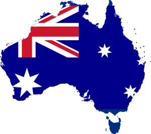 Flag map of Australia Logo Vector