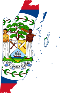 Flag map of Belize Logo Vector
