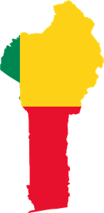 Flag map of Benin Logo Vector