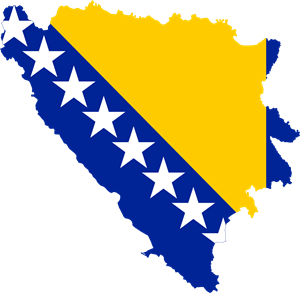Flag map of Bosnia and Herzegovina Logo Vector