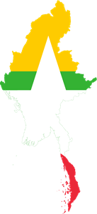 Flag map of Burma Logo Vector