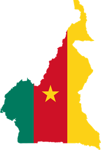 Flag map of Cameroon Logo Vector