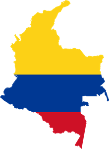 Flag map of Colombia Logo Vector
