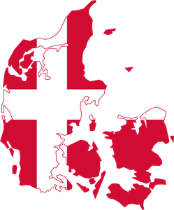 Flag map of Denmark Logo Vector