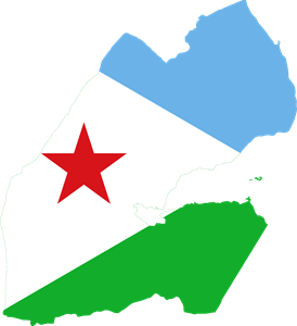 Flag map of Djibouti Logo Vector