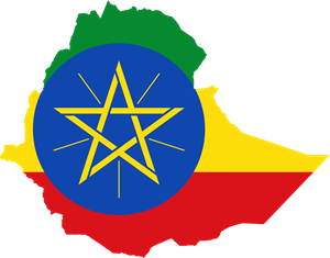 Flag map of Ethiopia Logo Vector