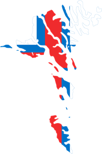 Flag map of Faroe Islands Logo Vector