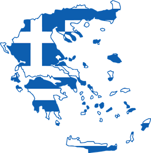 Flag map of Greece Logo Vector