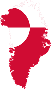 Flag map of Greenland Logo Vector