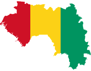 Flag map of Guinea Logo Vector
