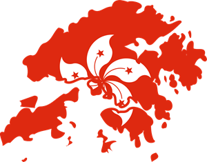Flag map of Hong Kong Logo Vector