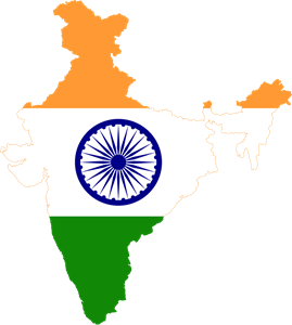 Flag map of India Logo Vector