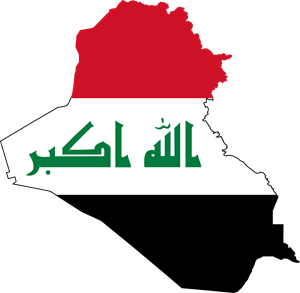 Flag map of Iraq Logo Vector