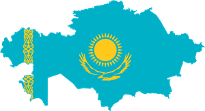 Flag map of Kazakhstan Logo Vector
