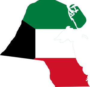 Flag map of Kuwait Logo Vector