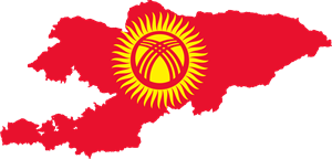 Flag map of Kyrgyzstan Logo Vector