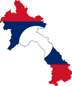 Flag map of Laos Logo Vector