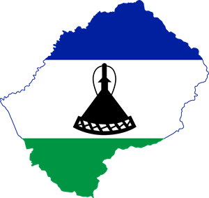 Flag map of Lesotho Logo Vector