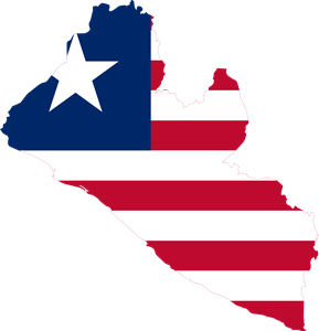 Flag map of Liberia Logo Vector