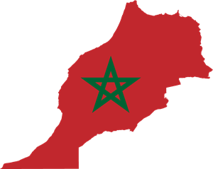 Flag map of Morocco Logo Vector