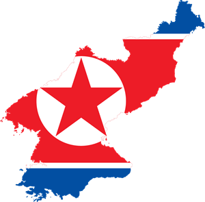 Flag map of North Korea Logo Vector