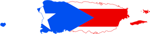 Flag map of Puerto Rico Logo Vector