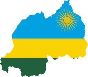 Flag map of Rwanda Logo Vector