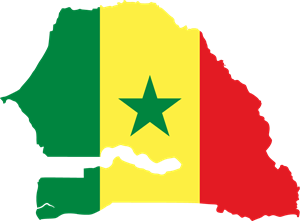 Flag map of Senegal Logo Vector