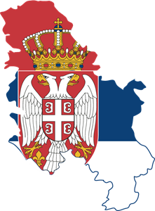 Flag map of Serbia Logo Vector