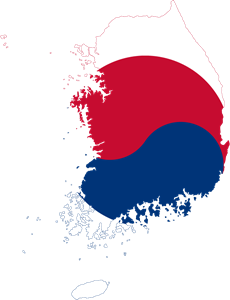 Flag map of South Korea Logo Vector