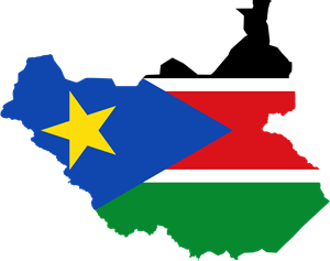 Flag map of South Sudan Logo Vector