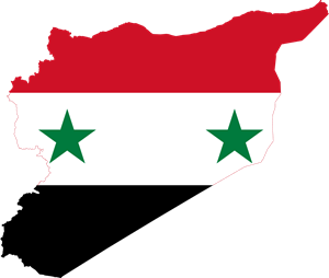 Flag map of Syria Logo Vector