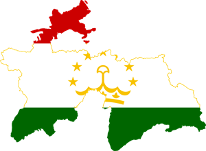 Flag map of Tajikistan Logo Vector