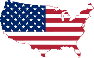 Flag map of the United States Logo Vector