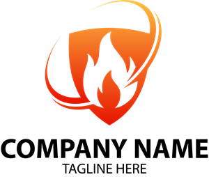 Flame in Shield Company Logo Vector