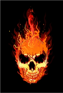 flaming skull Logo Vector