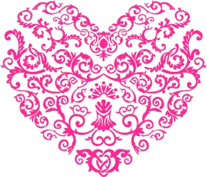 floral art heart shape valentine day Logo Vector