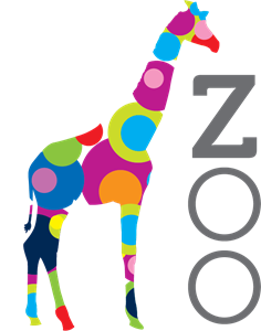 Giraffe Color Circles Zoo Logo Vector