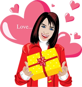 girl holding valentine day yellow gift box Logo Vector
