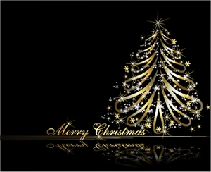 golden christmas tree Logo Vector