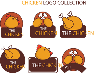 Great selection of hand-drawn chicken Logo Vector