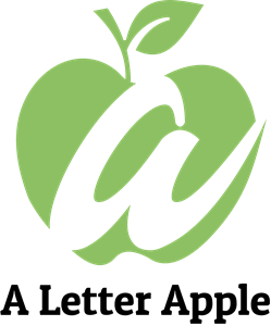 Green Apple with Letter A Logo Vector