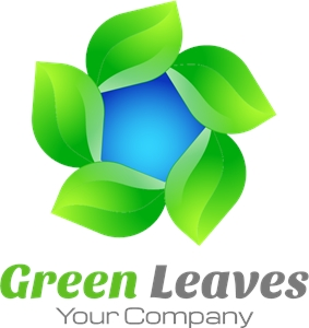 Green leaves round Logo Vector