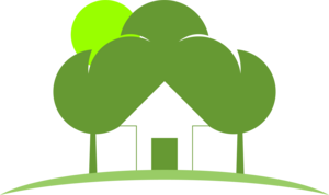 Green Tree House Logo Vector