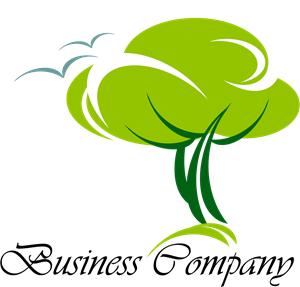 Green Tree with a birds Logo Vector