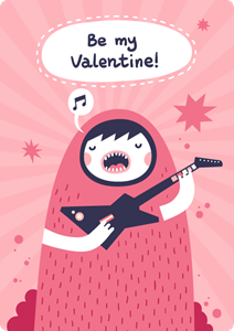 guitarist girl singing be my valentine Logo Vector