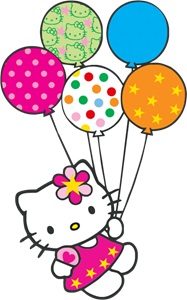 Hello Kitty con globitos Logo Vector