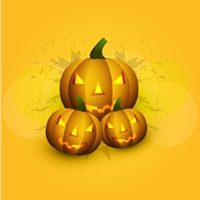 halloween scary yellow pumpkins bright colorful Logo Vector