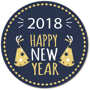 Happy New Year 2018 Logo Vector